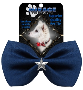 Silver Star Widget Pet Bowtie Navy Blue